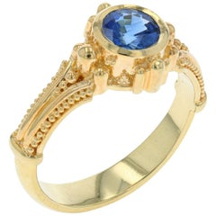 Kent Raible Blue Sapphire 18 Karat Gold Ring with Granulation