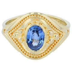 Kent Raible Blue Sapphire Solitaire Ring with 18 Karat Gold Granulation