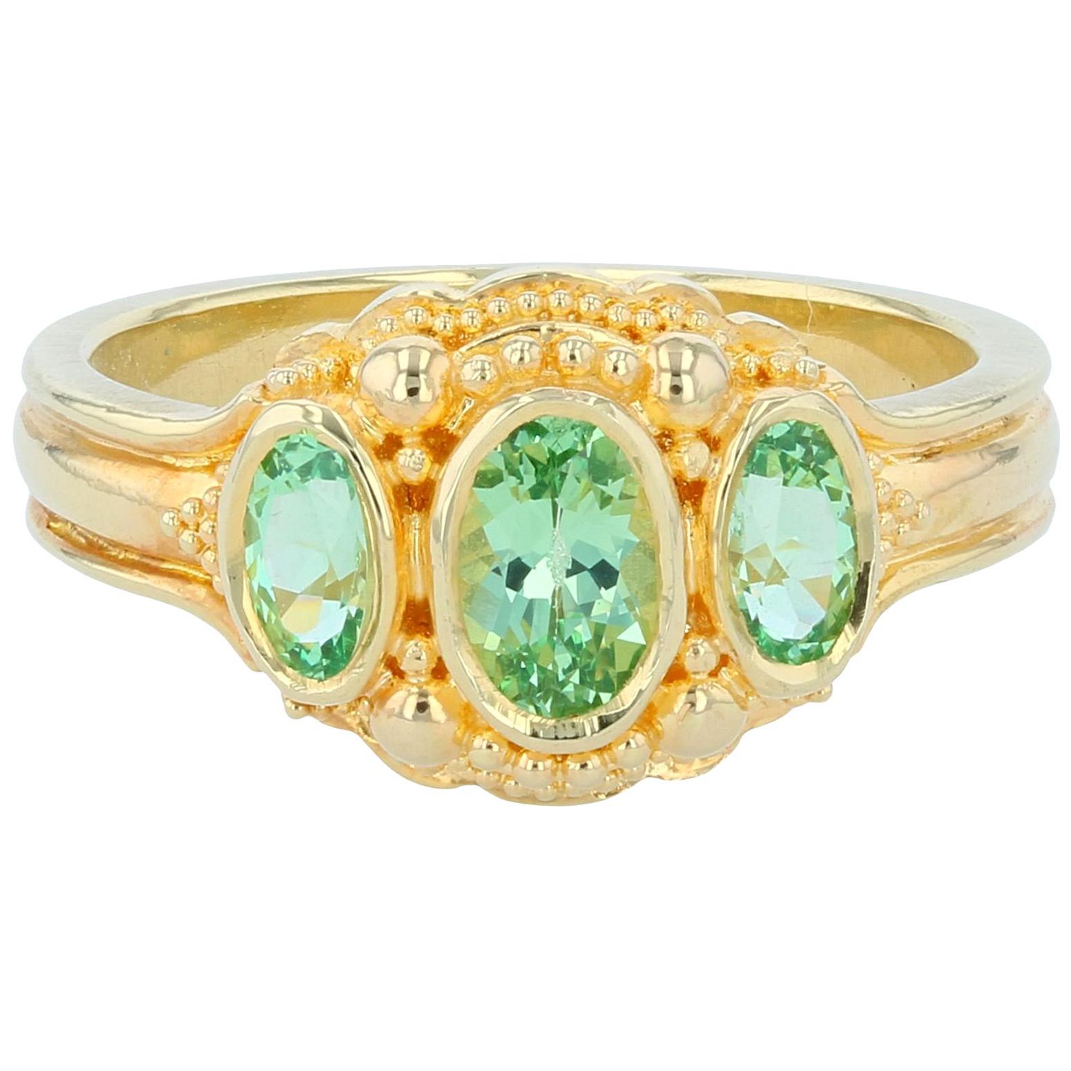 Kent Raible Bright Green Garnet Three-Stone Ring with Fine 18k Gold Granulation