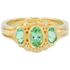 Kent Raible Bright Green Garnet Three-Stone Ring with Fine 18k Gold Granulation