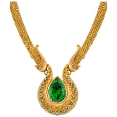 Kent Raible Chrome Tourmaline Necklace, 18k gold granulation and woven chain