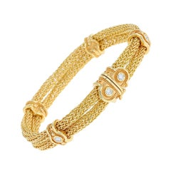 Kent Raible Double Woven Chain Bracelet with Diamonds and Gold Granulation
