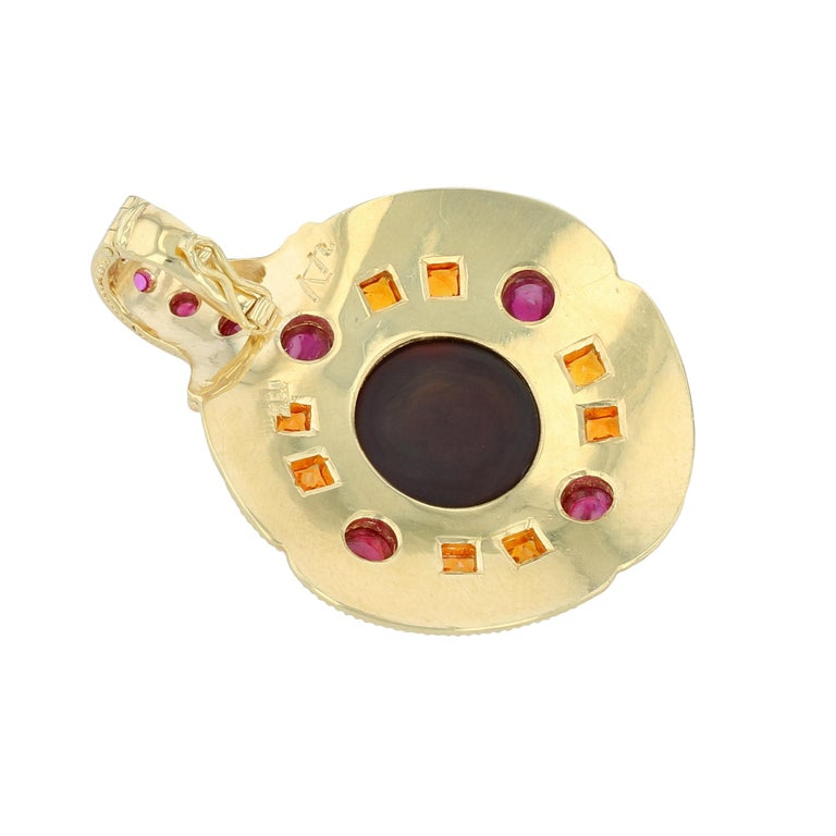 Contemporary Kent Raible Fire Agate, Ruby and Garnet Necklace Enhancer 18k Gold Granulation For Sale