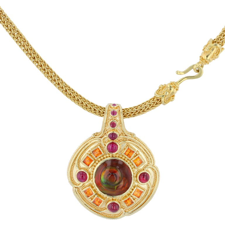 Kent Raible Fire Agate, Ruby and Garnet Necklace Enhancer 18k Gold Granulation In New Condition For Sale In Mossrock, WA