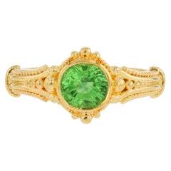 Kent Raible Green Garnet 18 Karat Gold Solitaire Ring with Granulation