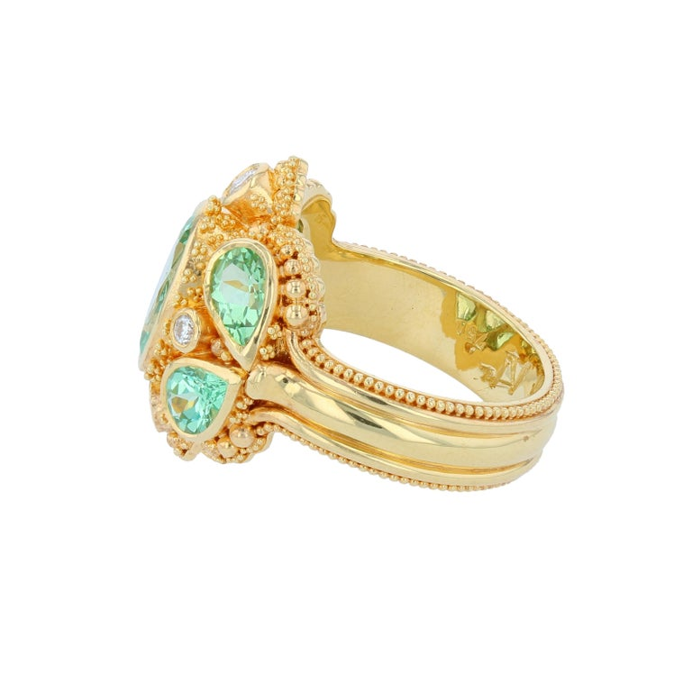 Oval Cut Kent Raible Green Garnet Cocktail Ring with Diamonds, 18 Karat Gold Granulation For Sale