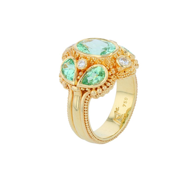 Kent Raible Green Garnet Cocktail Ring with Diamonds, 18 Karat Gold Granulation In New Condition For Sale In Mossrock, WA
