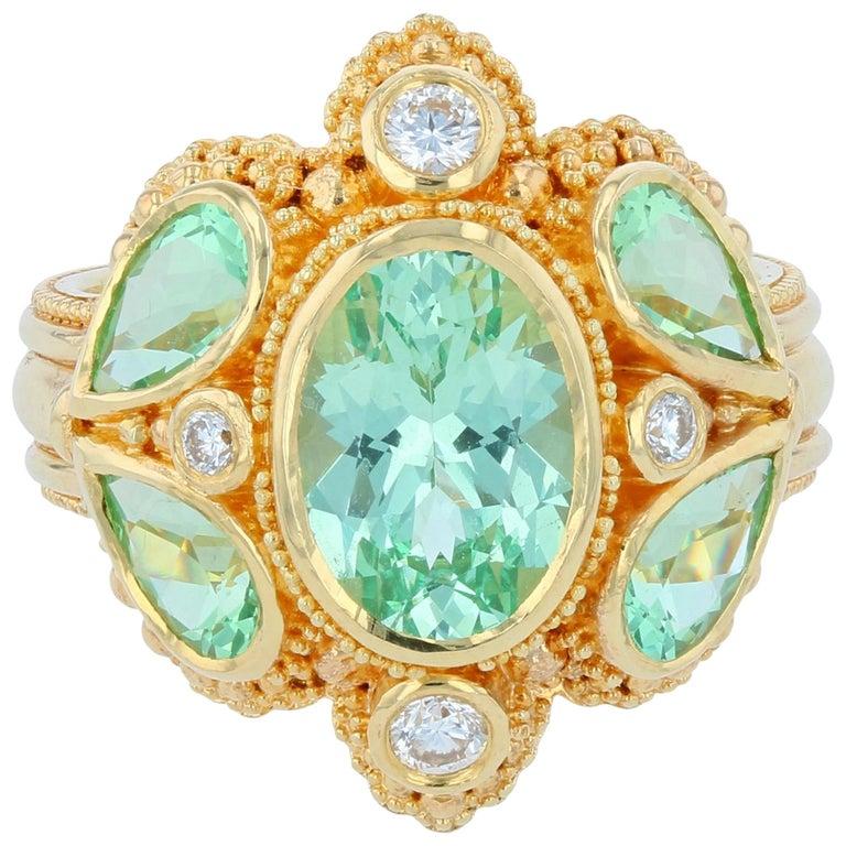 Kent Raible Green Garnet Cocktail Ring with Diamonds, 18 Karat Gold Granulation For Sale