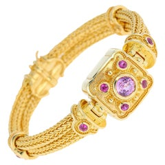 Kent Raible Pink Sapphire Woven Chain Bracelet with Fine Granulation