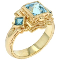 Kent Raible Rose Cut Square Aquamarine Cocktail Ring with 18 Karat Granulation