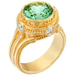 Kent Raible Seafoam Tourmaline, Diamond, 18 karat Gold Granulation Cocktail ring