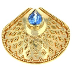 Kent Raible Shell Drop Pendant with Blue Sapphire and 18 Karat Gold Granulation