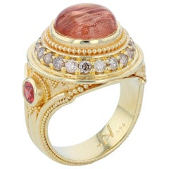 Kent Raible Sunstone Cocktail Ring Cognac Diamonds, Granulation in 18 Karat Gold