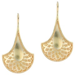 Kent Raible's 18 Karat Gold 'Fan' Dangle Earrings with fine Granulation