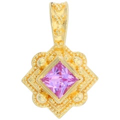 Kent Raible's 18 Karat Gold Pink Sapphire Necklace Enhancer Pendant, Granulation