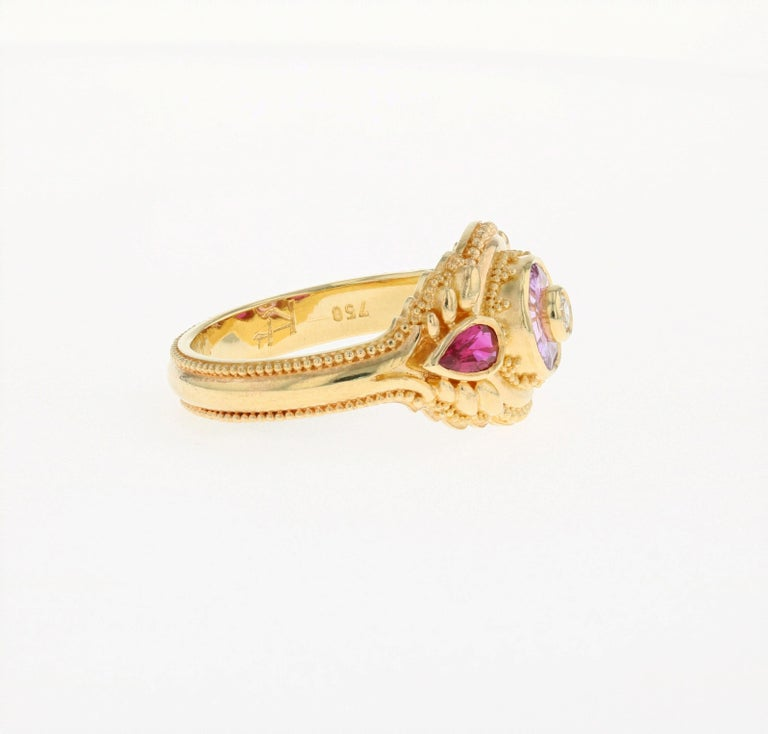 Contemporary Kent Raible's Bespoke 18k Gold Pink Sapphire, Ruby and Diamond Cocktail Ring For Sale