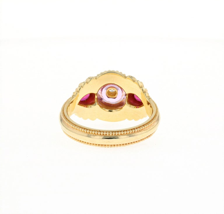 Kent Raible's Bespoke 18k Gold Pink Sapphire, Ruby and Diamond Cocktail Ring In New Condition For Sale In Mossrock, WA