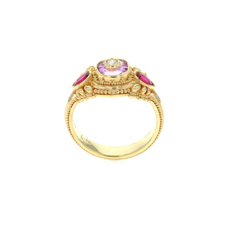 Women's or Men's Kent Raible's Bespoke 18k Gold Pink Sapphire, Ruby and Diamond Cocktail Ring For Sale