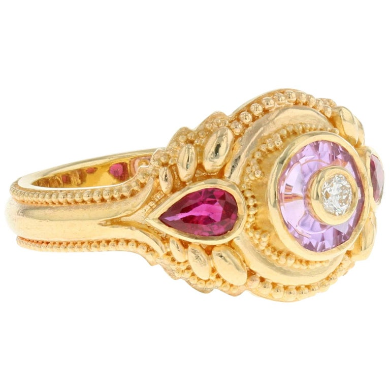 Kent Raible's Bespoke 18k Gold Pink Sapphire, Ruby and Diamond Cocktail Ring For Sale