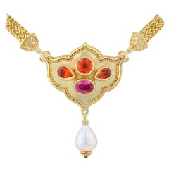 Kent Raible's Flower Jewel 18K Pendant Necklace with Mandarin Garnets and Spinel