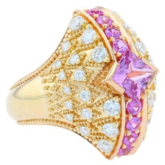 Kent Raible's Pink Sapphire and Diamond Bombe Fan Ring in 18K, Fine Granulation