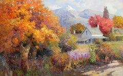 """Country Autumn"", Kent Wallis, Impressionism, Landscape, Impressionism, Floral"
