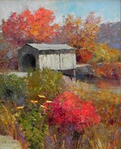 """""""Quaint Hyde Bridge"""", Kent Wallis, Oil on Canvas, 30x24, Impressionist Landscape"""