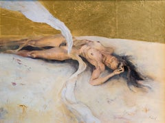 """Quiescence Mind"" Oil Painting with Gold Leaf on Panel"