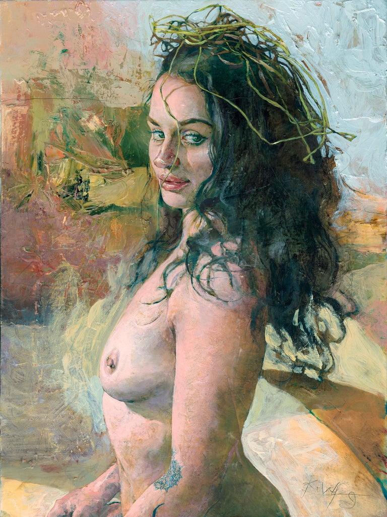 Kent Williams Nude Painting - Tracy with Raffia Crown