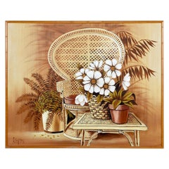 Kenton Wicker Peacock Chair and Table Painting in Faux Bamboo Frame