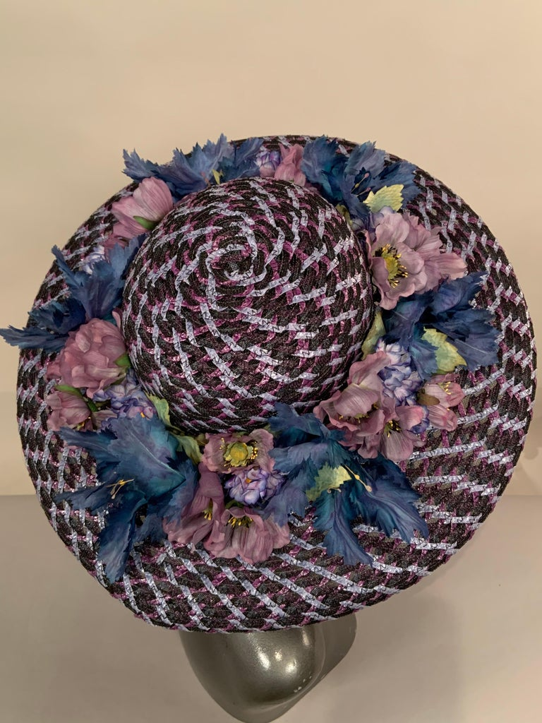 Black Kentucky Derby Worn Lucky Hat Tri Color Woven Straw and Silk Flowers Eric Javits For Sale