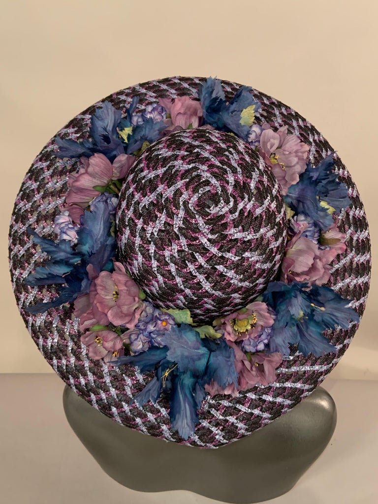 Kentucky Derby Worn Lucky Hat Tri Color Woven Straw and Silk Flowers Eric Javits In Excellent Condition For Sale In New Hope, PA