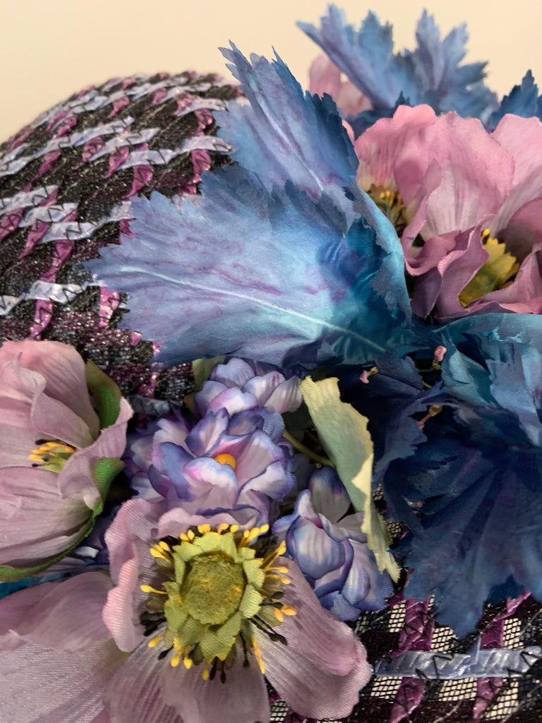 Kentucky Derby Worn Lucky Hat Tri Color Woven Straw and Silk Flowers Eric Javits For Sale 1