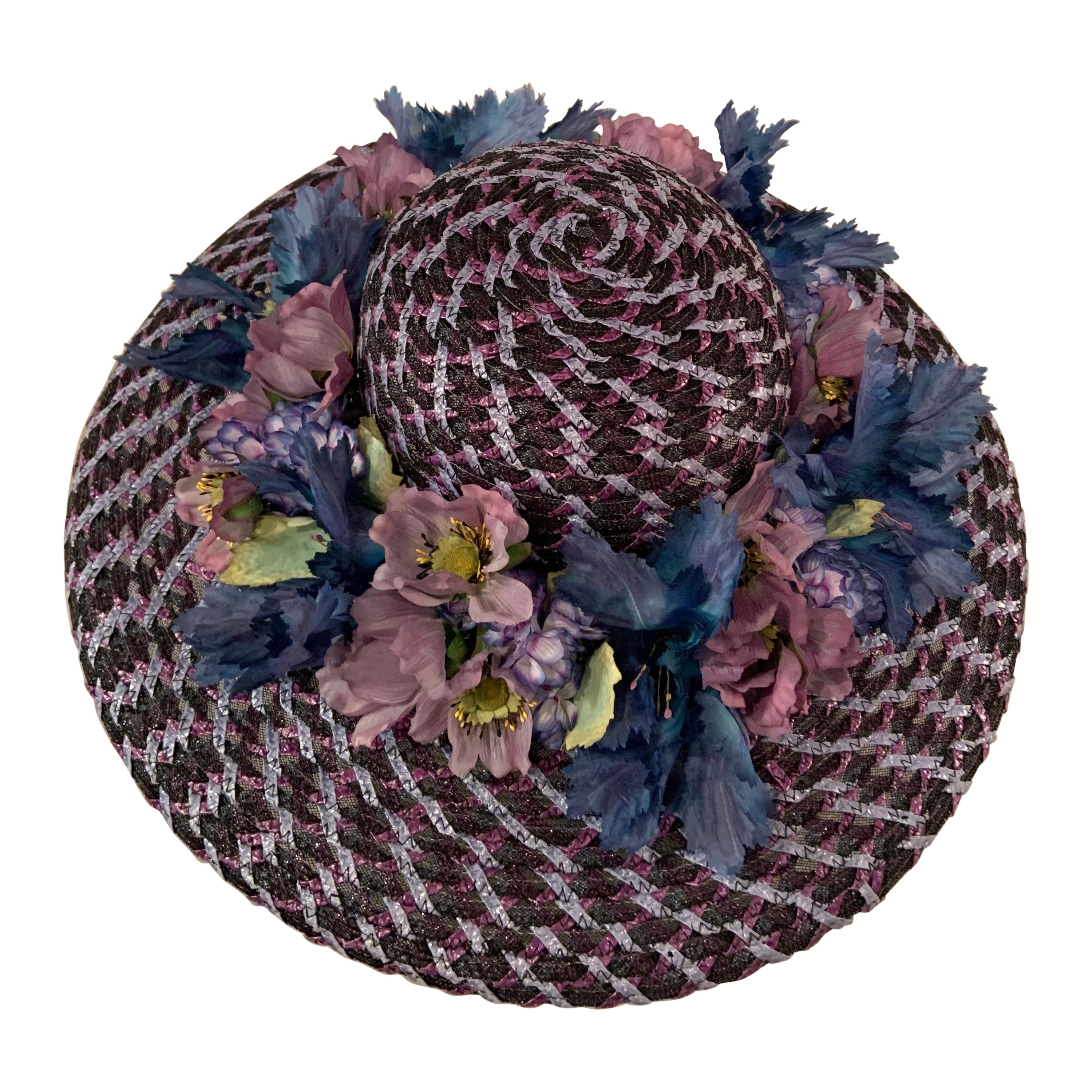 Kentucky Derby Worn Lucky Hat Tri Color Woven Straw and Silk Flowers Eric Javits