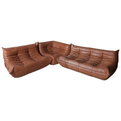 Kentucky Leather Togo Living Room Set by Michel Ducaroy for Ligne Roset, 1970s