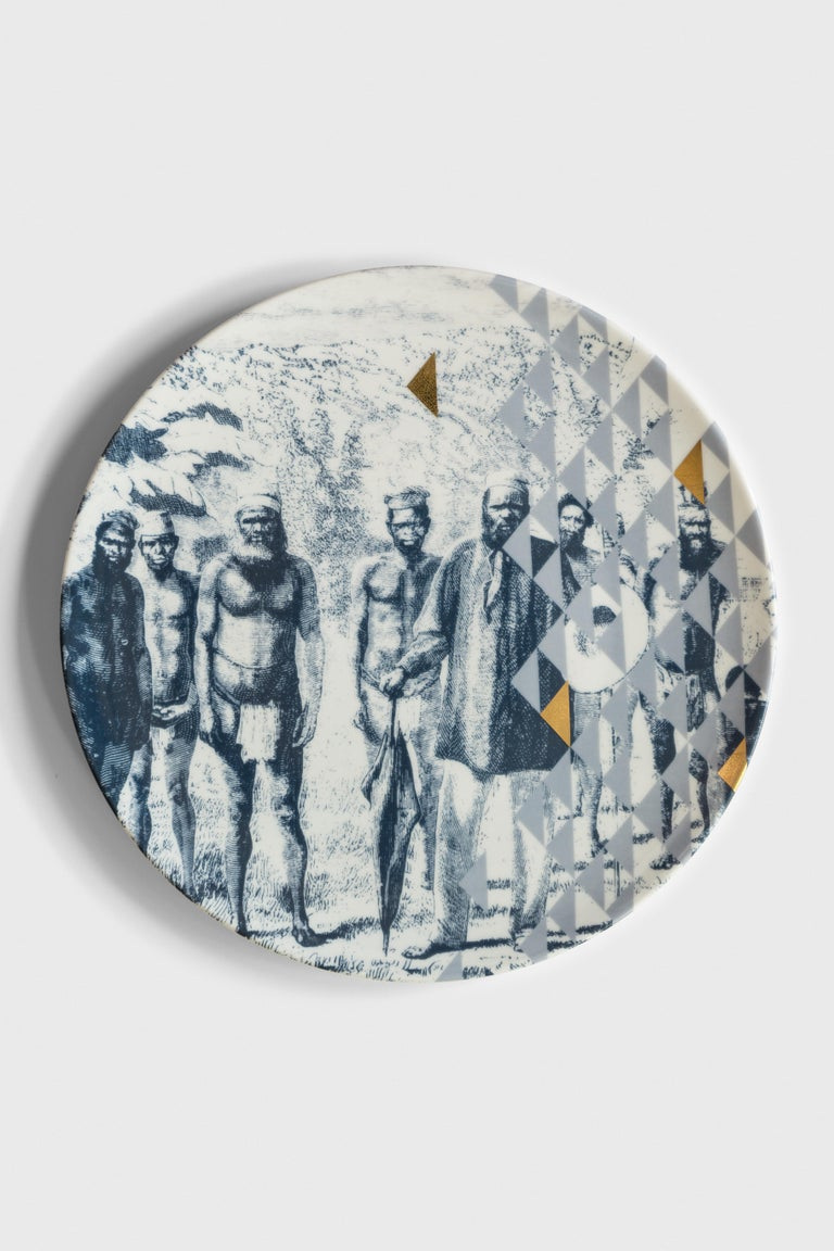 Italian Kenya, Six Contemporary Porcelain Dinner Plates with Decorative Design For Sale