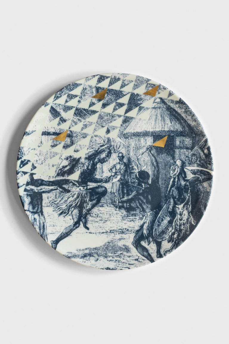 Kenya, Six Contemporary Porcelain Dinner Plates with Decorative Design In New Condition For Sale In Milan, IT