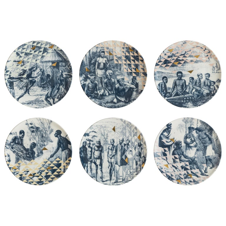 Kenya, Six Contemporary Porcelain Dinner Plates with Decorative Design For Sale