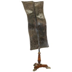 Kenyan African Turkana Leather and Iron Fighting Shield Regency Hardwood Base