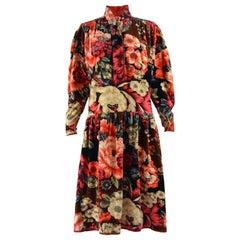 Kenzo 1970s Vintage Velvet Floral Print Dress