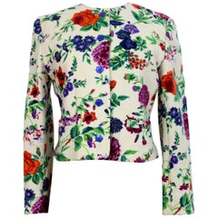 Kenzo Beige Colorful Wool Floral Short Jacket 1980s