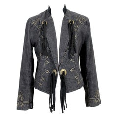 Kenzo Black Denim Cotton Fringes Western Jeans Jacket