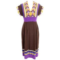Kenzo Brown Green Wool Silk Check Pinstripe Long Dress