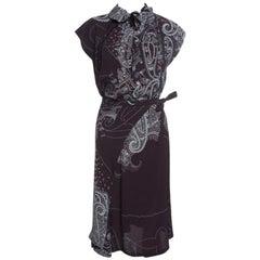 Kenzo Brown Paisley Print Top and Wrap Skirt Set S
