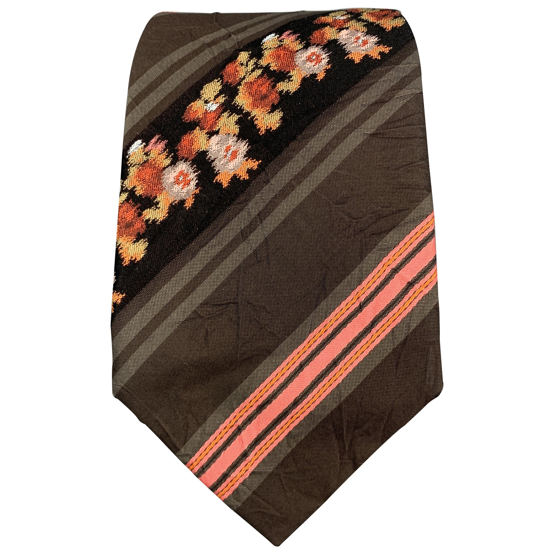KENZO Brown & Pink Floral Striped Textured Silk Tie