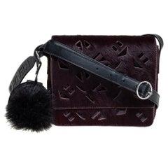 Kenzo Burgundy/Black Calfhair and Leather Lazer Cut Flap Shoulder Bag