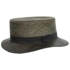 Kenzo Dark Gray Stiff Straw Hat Fedora