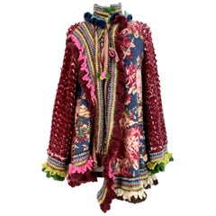 Kenzo Defile Burgundy Blue Wool Floral Perforated Poncho Large Jacket