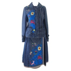 Kenzo Denim Embroidered Skirt Suit