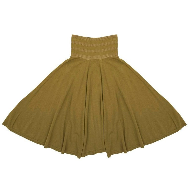 KENZO Flared Skirt in Green Khaki Wool, Silk and Cashmere Size S